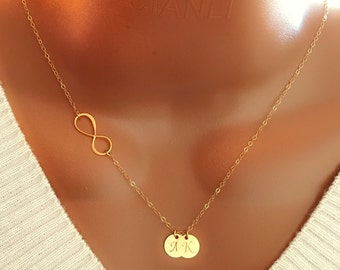 14k gold filled infinity and discs necklace, personalized initial necklace, personalized gifts