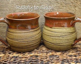Set of 2 Coffee Cups, Coffee Mugs, Ceramic Coffee Mugs, Ceramic Mugs, Pottery Mug Glazed in Rustic Montana READY TO SHIP!