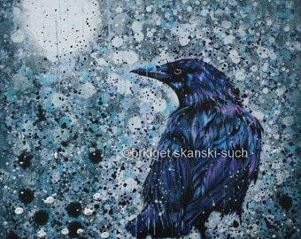 The Rain Raven/Raven/corvid/ Limited Edition print/rain/moon/bird/bridget skanski-such/wildlife/spatters/grey/gothic/