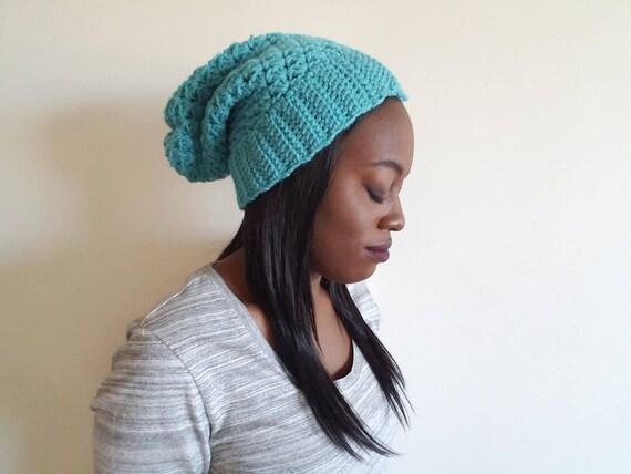 Crochet Slouch Hat - Gift for Women - Unisex Warm Hat - Cool Gift for Girfriend - Crochet Hats for Women - Aqua Beanie - Gift for Boyfriend
