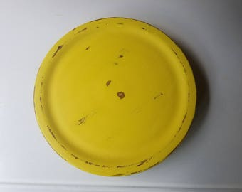 Hand Painted Yellow Shabby Chic Lazy Susan