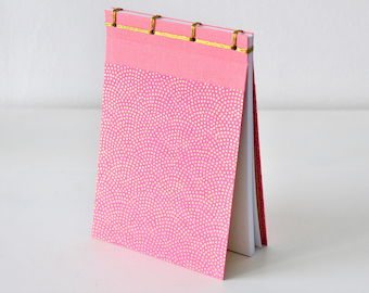Small Japanese Notebook, hand bound, Chiyogami paper, dots, gold, pink, stab binding - Journal, Diary, Sketchbook, Travel Book