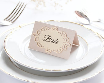 Custom Die Cut Place Cards, Wedding Place Cards, Wedding Table Cards, Personalized Place Cards, Beige Place Cards, Cream Placement Cards