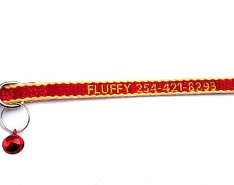 Eco Friendly red/yellow Breakaway Cat Collar w/Bell