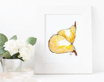 Hand-Illustrated Food Print - Pears