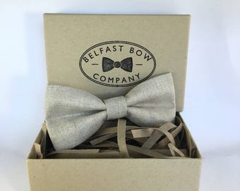 Irish Linen Bow Tie in Natural - Adult & Junior sizes available
