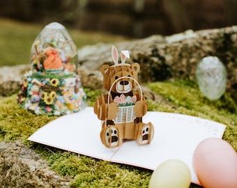 Easter Bunny Bear Pop Up Card, Easter Bunny Bear Card, Easter Bear Pop Up Card, Easter Bear Card, Easter Pop Up Card, Easter Card, Lovepop