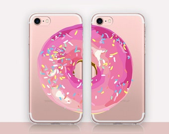 Donut BFF Clear Phone Case - Clear Case-For iPhone 8, 8 Plus, X, iPhone 7 Plus, 7, SE, 5, 6S Plus, 6S,6 Plus, Samsung S8,S8 Plus,Transparent