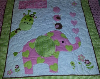 Hand Made Patchwork Fuzzy Flannel Baby Quilt By Yankeeruffles