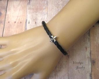 Fleur de lis Leather Bracelet, Fleur de lis Jewelry, Fleur de lis Bracelet,  New Orleans Jewelry, Louisiana Jewelry, Black Leather Bracelet