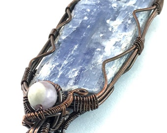 Kyanite Gemstone Pendant with Amazez, wire wrapped in copper. Attunement to One's Pattern Of Perfection