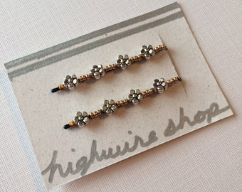 Silver and Gold Flower Beaded Bobby Pins