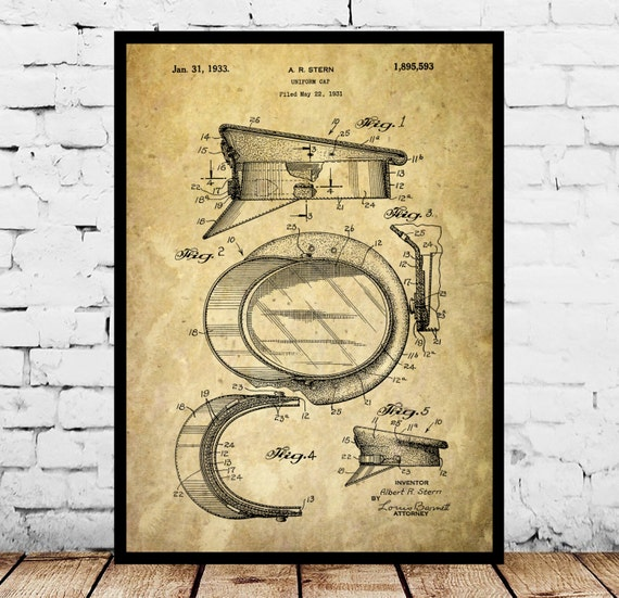 Police Hat Poster, Police Hat Patent, Police Hat Print, Police Hat Art, Police Hat Decor, Police Hat Wall Art, Police Hat Blueprint