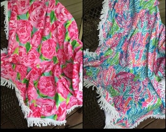 Monogrammed Embroidered Rose Round Beach towels, personalized circle beach towel, circle lily beach towel, beach blanket, sea weed towel