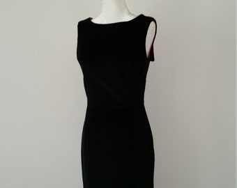 Black velvet corduroy vintage style dress