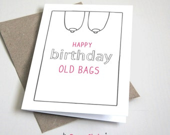 Happy Birthday Old Bags CARD / Funny / Birthday Card / Adult / Pinkl and Grey / 5x7 Folded Card – Printable DIY, Instant Download