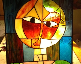 Multi colorAbstract Stain Glass Panel Head of Man
