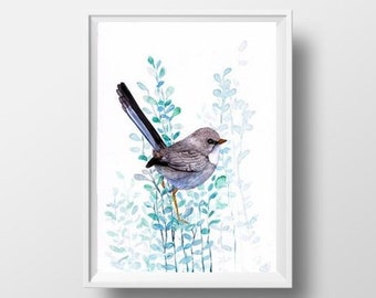 fairywren watercolor painting print bird inspiration wall art decor bird poster bird decoration bird print nursery girl teal blue