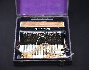Vintage German Made Art Deco Style Stark 12 Bass Accordion in it's Original Case, and Ready to Play as-is