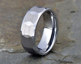 Tungsten  wedding band, brushed polished, 8mm, beveled edge, mens tungsten band, his tungsten ring, anniversary tungsten band