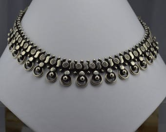 Sterling Silver Necklace, Oxidised Sterling Silver Necklace, Antique Look Necklace