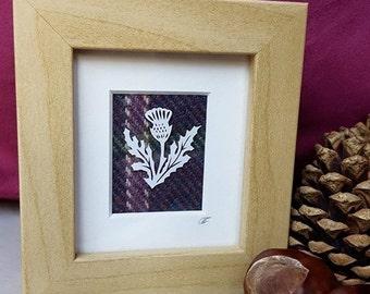 Mini THISTLE frame, Scottish thistle art, Tartan gift for her, Flower of Scotland frame, thistle gift, Scottish gift, Tweed artwork