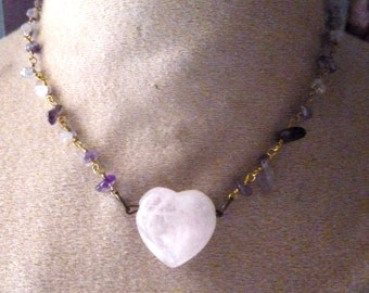 Collier pink quartz and Amethyst