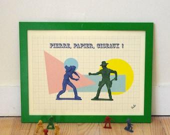 Kids poster, cowboy, retro and vintage chifoumi, kids room, boy, A3, VUDO, ateliervudo rock paper scissors, birth gift