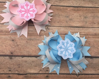 Snowflake Hair bow - Winter hair bow - pink and gray bow - blue and gray bow - sparkle bow - Snow Accessory - Snowflake - hair clip - snow