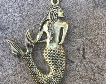 Mermaid Pendant - large Bronze Mermaid Necklace Bronze Brass Chain Necklace