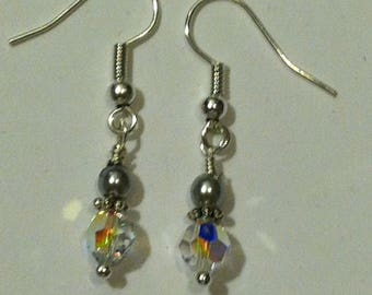 Swarovski crystal handmade clear ab drop/dangle earrings