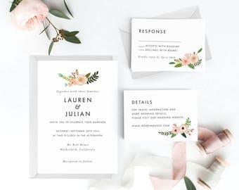 Floral Wedding Invitation Suite, Wedding Invitation Printable, Invitation Set, Wedding Invitation Rustic, PDF Letter or A4 (Item code: P004)