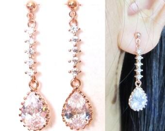 CZ Crystal Wedding Clip-On Earrings |20G| Rose Gold Bridal Clip on Dangle Earrings Non Pierced Earrings Clipons Drop Earrings Gift For Her