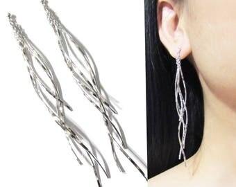 Chandelier Clip On Earrings |24D| Bridal Wedding Dangle Clip-on Earrings Silver Tassel Bar Long clip Earrings Invisible Clip On Earrings