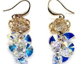 Lady swarovski crystal rose earrings