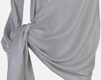 Light Grey Pashmina Shawl  Bridal Scarf Silky Feel Bridal Shawl Bridesmaid Gift/Scarf  Wedding Gift Scarf/Shawl/Gift ( Light Grey)