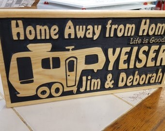 Personalized RV 5th Wheel Sign - Camping Life is Good - Carved Wood Hand painted Cedar - Made in USA my Tiny House - Happy Glamping