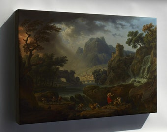 Canvas 24x36; A Mountain Landscape With An Approaching Storm By Claude Joseph Vernet