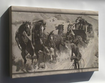Canvas 24x36; Right Of The Road Remington'S The Right Of The Road (1900),  Bicyclist Stagecoach