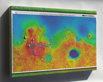 Canvas 24x36; Mars Topography Map 3
