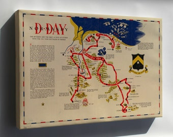 Canvas 24x36; Map Of D-Day Normandy France 743Rd Tank Battalion