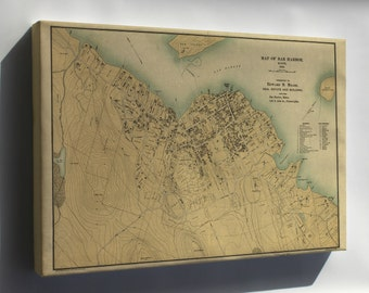 Canvas 16x24; Map Of Bar Harbor, Maine, 1896