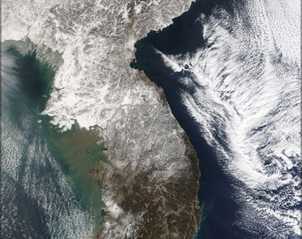 16x24 Poster; Satellite Image Map China, North Korea,  Parts Of South Korea
