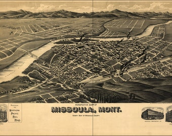 16x24 Poster; Birdseye View Map Of Missoula Montana 1891