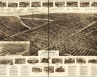16x24 Poster; Aero-View Map Of Lindenhurst, Long Island, 1926, New York