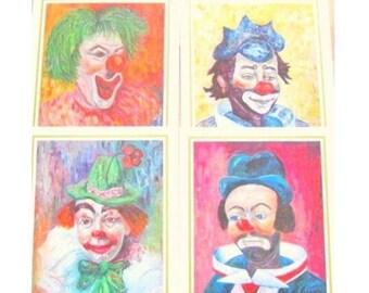 Vintage Clown Lithos by Michele,Set of 4,Collectors Portfolio Oil Reproductions,Clown Litho,Clown Prints,Circus CLOWN,MCM,Michele,1966