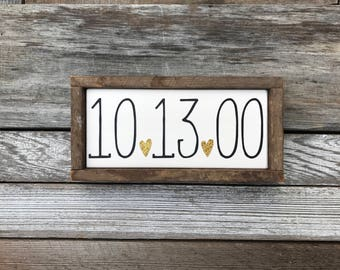 "Wedding Date Sign, Framed in Tobacco Lath (9"" x 4.5"")"