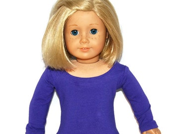 "Purple Long Sleeve Tee Shirt - Doll Clothes made to fit 18"" American Girl Dolls"