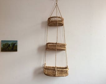 Big size hanging kitchen basket macrame. Mexican art folk. Half circle style