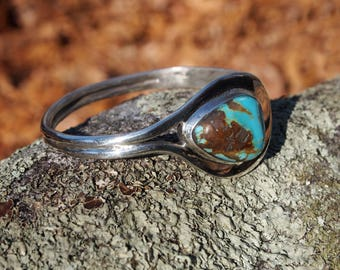 Side Cuff Turquoise and Sterling Silver Bracelet
